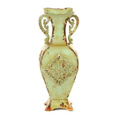 Green Distressed Medallion Vase