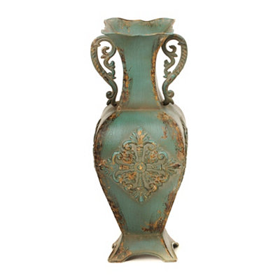 Turquoise Distressed Medallion Vase