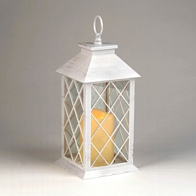 Distressed White LED Lantern