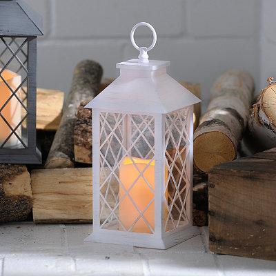 Distressed White LED Lantern