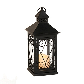 Black Scrollwork LED Lantern
