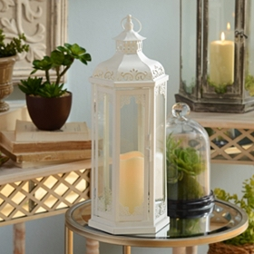 White Lacework LED Lantern