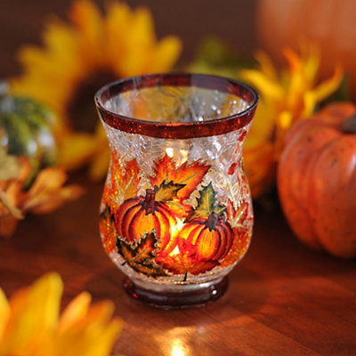 Pumpkin & Leaf Crackle Glass Votive Holder