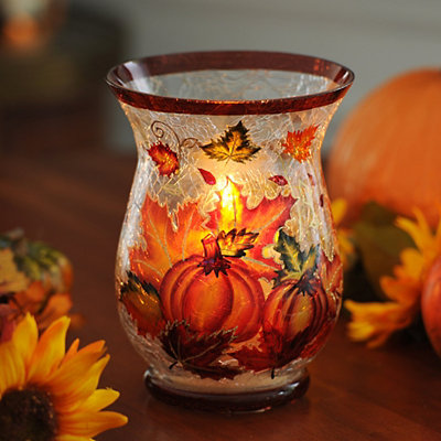 Pumpkin & Leaf Crackle Glass Hurricane