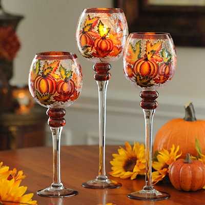 Pumpkin & Leaf Crackle Glass Charisma, Set of 3