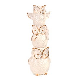 White Ceramic Triple Owl Statue