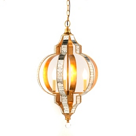 Antiqued Mirrored Pendant Lamp