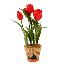 Red Tulip Arrangement in Chalkboard Pot