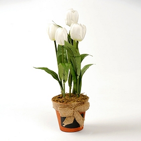 White Tulip Arrangement in Chalkboard Pot