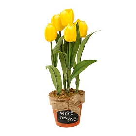Yellow Tulip Arrangement in Chalkboard Pot
