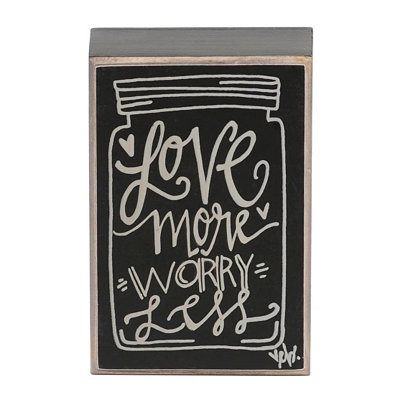Love More, Worry Less Mason Jar Word Block