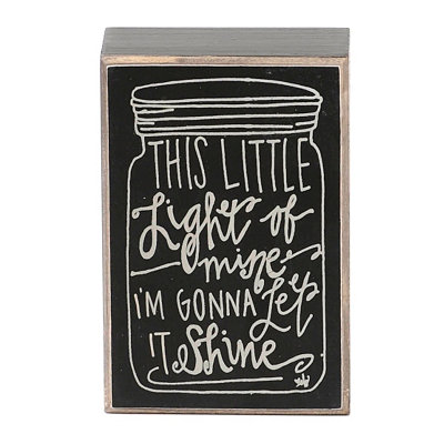 Let it Shine Mason Jar Word Block