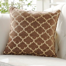 Tan Sandglass Accent Pillow