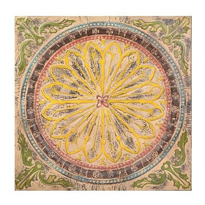 Distressed Floral Medallion Tile