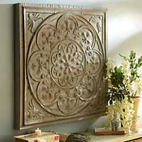 Distressed Gray Floral Medallion Tile