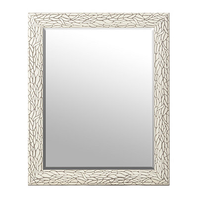 Distressed White Bark Framed Mirror, 28x34