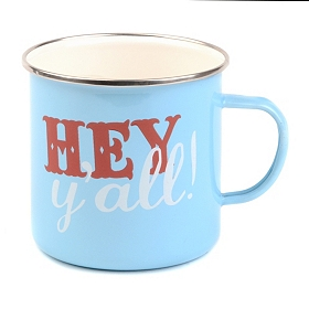 Blue Enameled Hey Y'all Farmhouse Mug