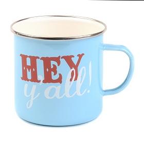 Blue Enameled Hey Y'all Farmhouse Mug