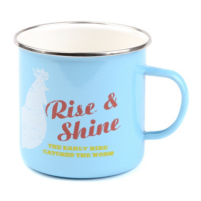 Blue Rise and Shine Farmhouse Mug