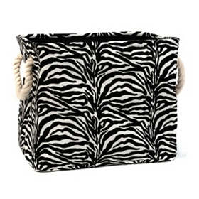 Zebra-Striped Storage Bin, Small