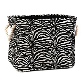 Zebra-Striped Storage Bin, Medium