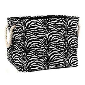 Zebra-Striped Storage Bin, Large