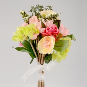 Pink and Yellow Rose and Peony Bouquet, 14 in.