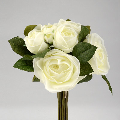 White Rose and Ranunculus Bouquet, 12 in.