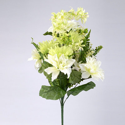 White Dahlia & Gerbera Daisy Bush, 26 in.