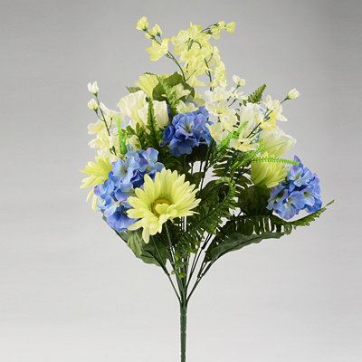 Blue Hydrangea with Gerbera Daisy Bush, 27 in.