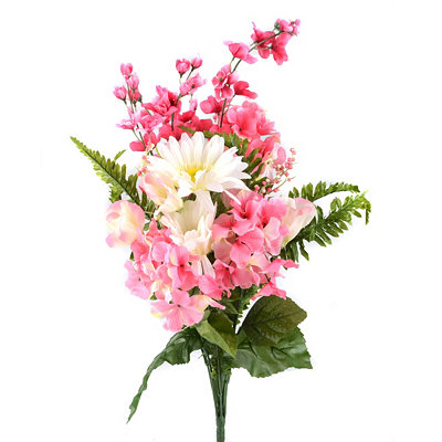 Pink Hydrangea and Gerbera Daisy Bush, 27 in.
