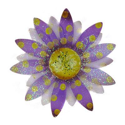 Glitzy Purple & Yellow Flower Plaque