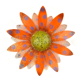 Glitzy Orange & Purple Flower Plaque