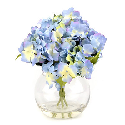 Blue Hydrangea Glass Arrangement