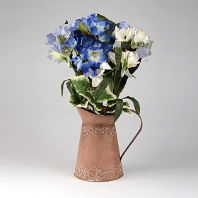 Blue Hydrangea, Peony, and Lily Arrangement