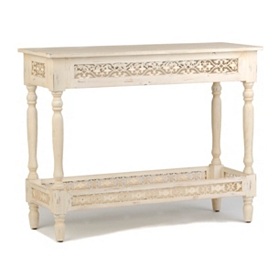 Pierced White Console Table