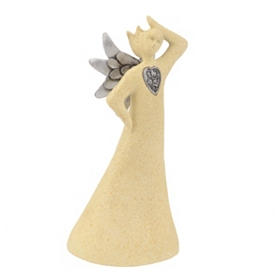 Silver Heart Ceramic Angel I Statue