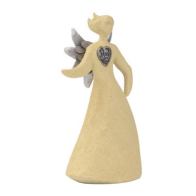 Silver Heart Ceramic Angel II Statue