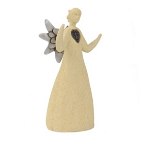 Silver Heart Ceramic Angel Statue