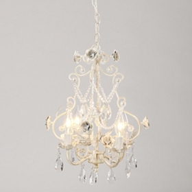 Antique White Rose Beaded Chandelier
