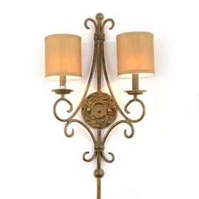 Medallion Scroll Double Wall Sconce