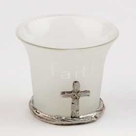 Faith Frosted Glass Votive Holder