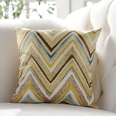 Green & Gold Zig Zag Accent Pillow