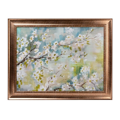 White Cherry Blossoms Framed Art Print