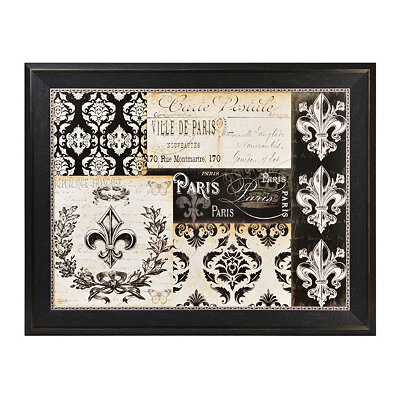 Black & Cream Carte Postal Framed Art Print