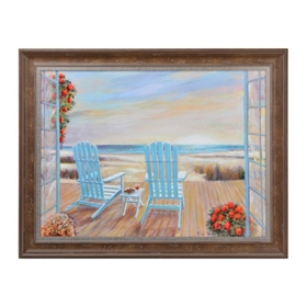 Blue Coastal Scene Framed Art Print