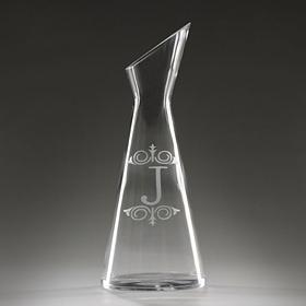 Monogram J Glass Carafe
