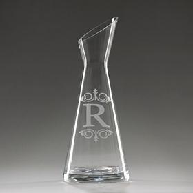 Monogram R Glass Carafe