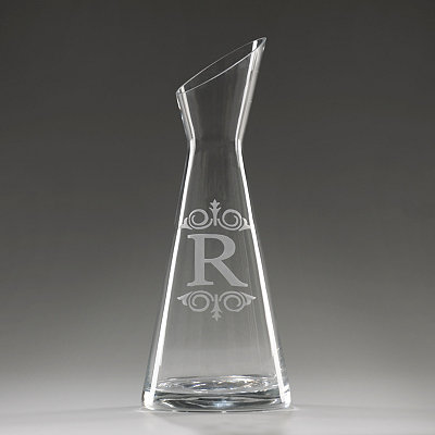 Monogram R Glass Carafe