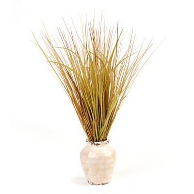 Mixed Grass Arrangement in Distressed Ivory Vase